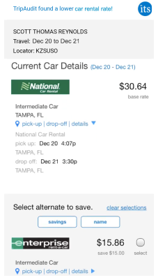 Cell phone showing alternate rental car choice
