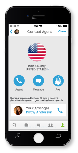 Cell phone with screen to call an agent, send a message or chat with Ava