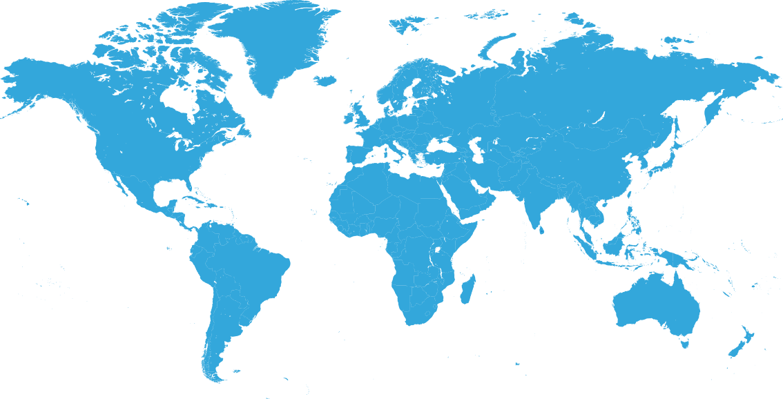 World map with pins to indicate office locations